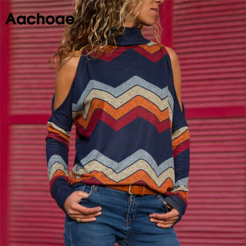 Aachoae Women Blouses Sexy Cold Shoulder Tops Casual Turtleneck Knitted Top Jumper Pullover Print Long Sleeve Shirt Blusas