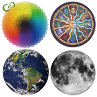 Puzzles 1000Pcs Round Jigsaw Puzzles Rainbow Earth Moon Palette Intellectual Game For Adults and Kids Puzzle Gift GYH