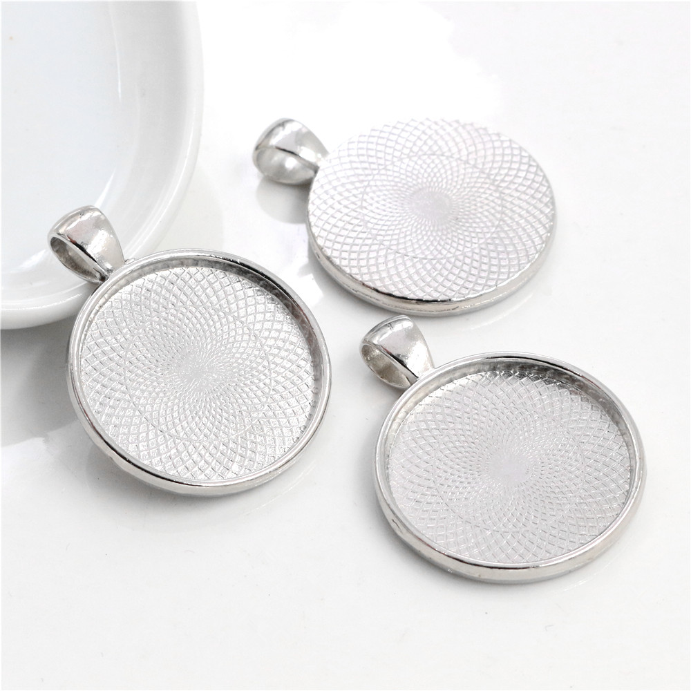New Fashion 10pcs 25mm Inner Size Rhodium Plated  Classic Style Cabochon Base Setting Charms Pendant (A3-63)