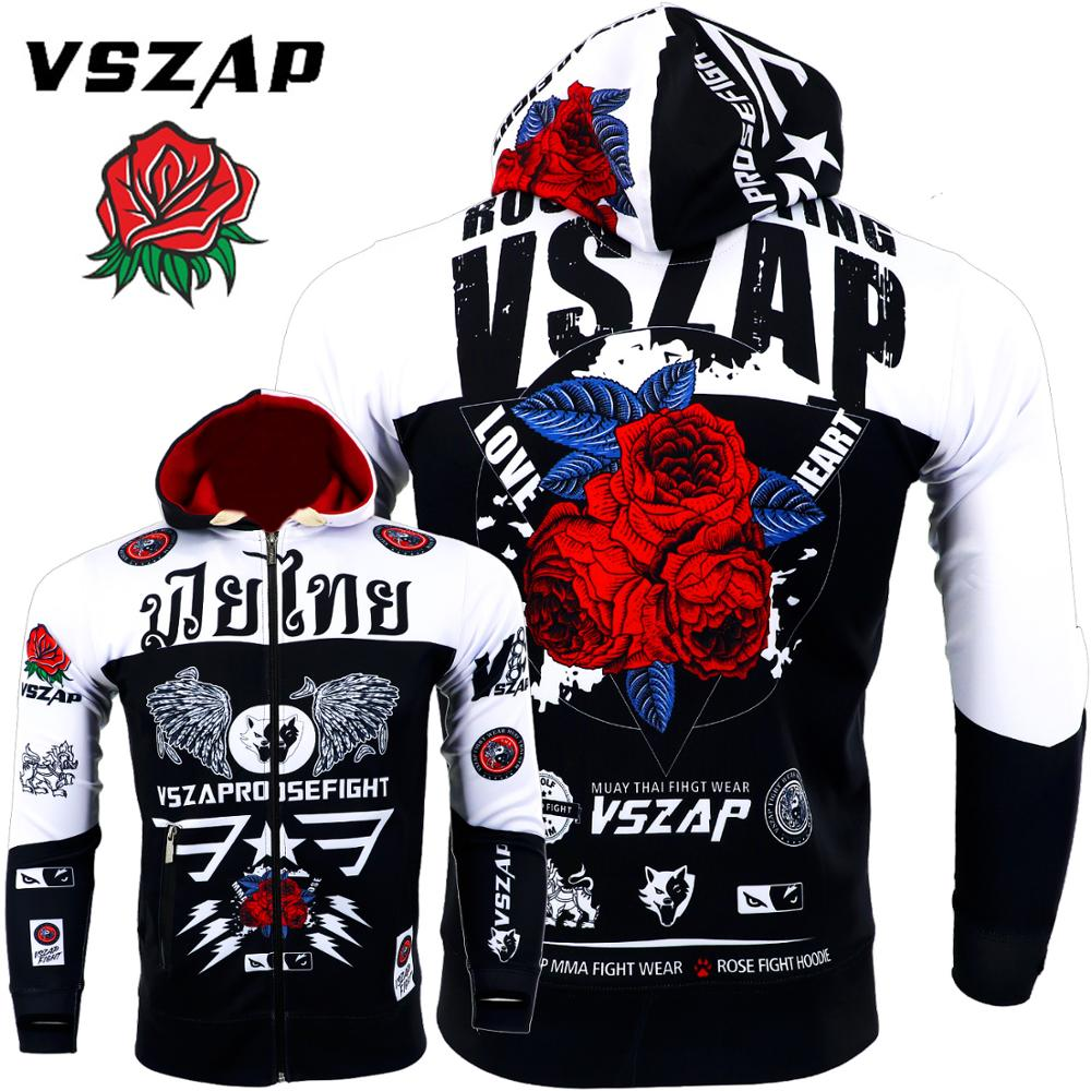 VSZAP Rose Warm Boxing Autumn Sweatshirts Gym Cloth Shirt Fighting Martial Arts Fitness Men MMA Rock Hoodies Workout Jacket