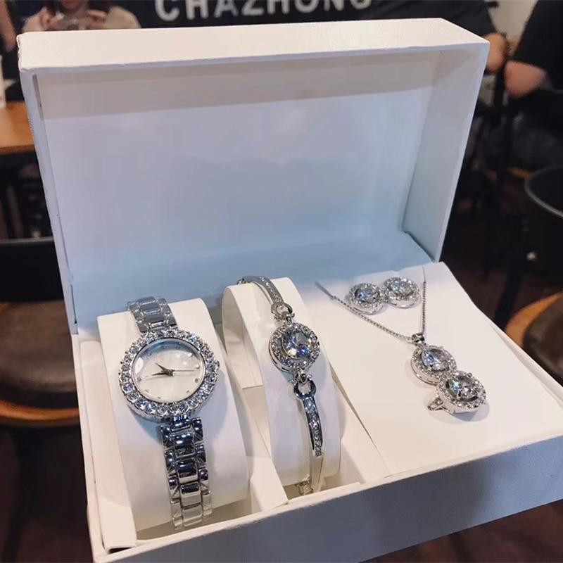 Marque D ensembles de bijoux de 5 en acier inoxydable zircon quartz montre grand bijou pendentif collier bracelet boucles d'oreilles anneau meilleur cadeau pour femme