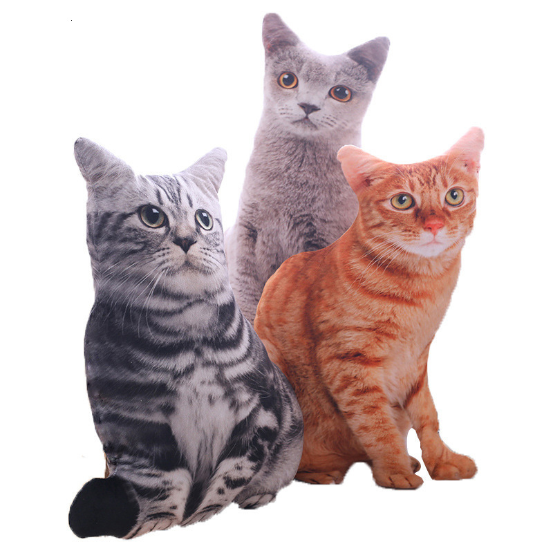 3d Children Cat Pillow Creative Artificial Cat Plush Cusion 50cm Decorative Throw Pillow Cartoon Sofa Toys Sleeping Pillow