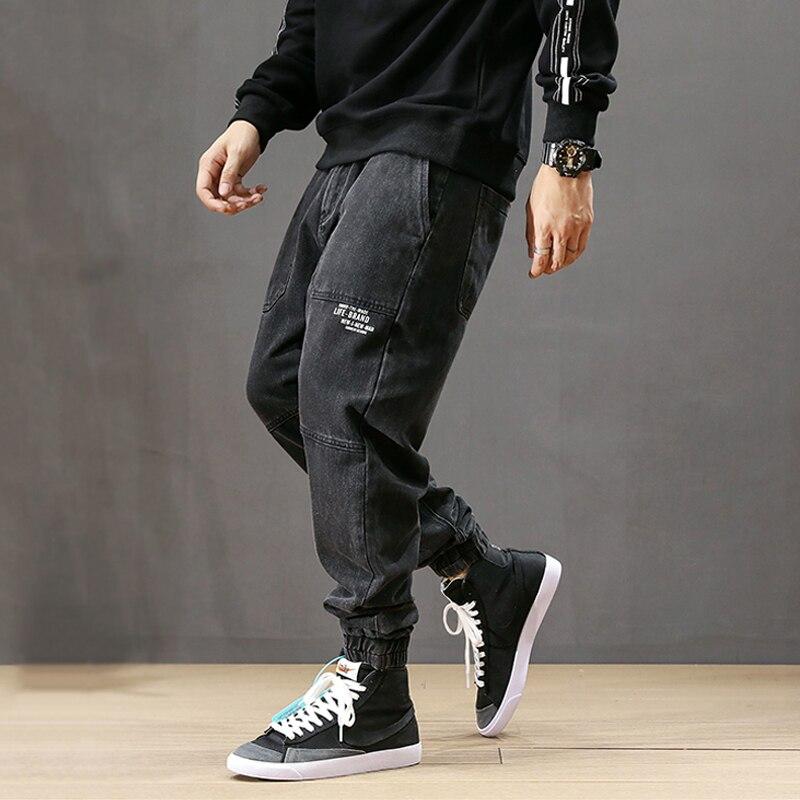 Fashion Streetwear Men Jeans Spliced Designer Denim Cargo Pants Harem Jeans Slack Bottom Printed Hip Hop Jogger Jeans Size 28-42