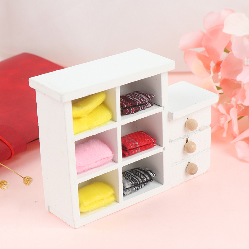 Mini Wooden Printing Closet Wardrobe Cabinet For Doll Girls Princess Bedroom Furniture Accessory Prop 1/12 scale dollhouse
