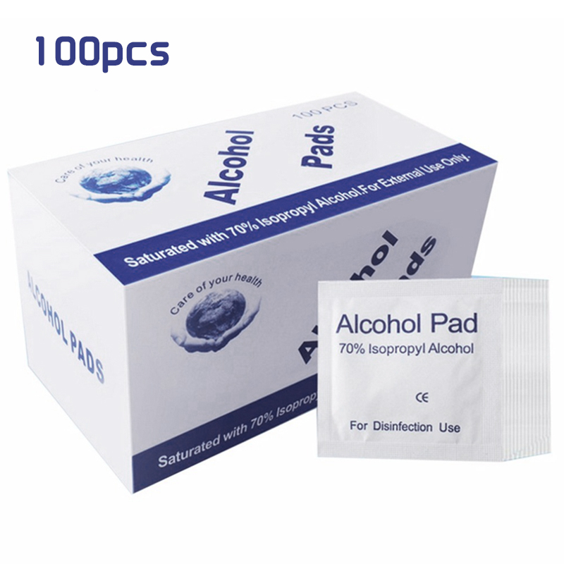 100 Pieces / Box Disposable Alcohol Cotton Sheet Nail Cleaning Disinfection Bag Wipes Sterilize Disinfection Wipes
