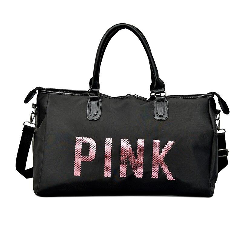 Pink Bag 2019 Nouvelle Conception Paillettes Rose Lettres Salle De Sport Sac De Sac A Main Femme Women Bag Over The Shoulder Bag