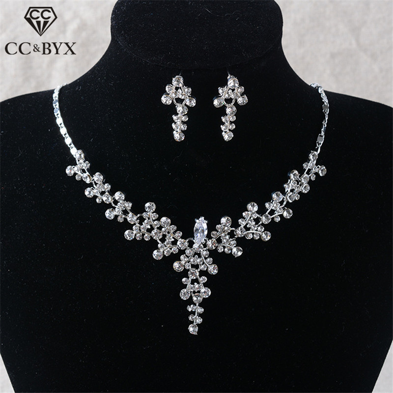 CC Necklace Stud Earring Set Pendant Jewelry Sets Wedding Accessories For Women Bridal Long Necklaces Bijoux Fine Gift TL249