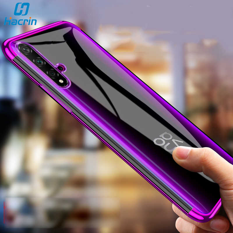 Hacrin Case For Huawei Nova 5T Case Soft TPU Transparent Clear Laser Plating Cover For Huawei Nova 5T 5 T Case Protective Bumper