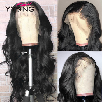 Pelucas de cabello humano con frente de onda de encaje YYong Body para mujeres negras, pelucas con frente de encaje brasileñas de 150% de densidad, Remy de baja proporción
