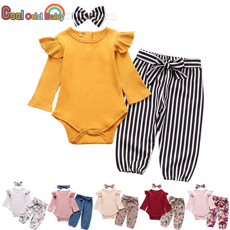3 pçs bebê recém-nascido roupas da menina definir moda outono manga longa cor sólida macacão topos calças bandana roupas infantis