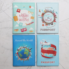 World Map Protective Cover Passport Protective Cover For Men And Women Printing Durable Storage Bag PU Printed Passport Cover