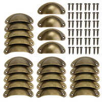 24pcs Handle Knobs Hardware Cupboard Shell Cup Pull Handle for Kitchen Drawer Cabinet Door Furniture
