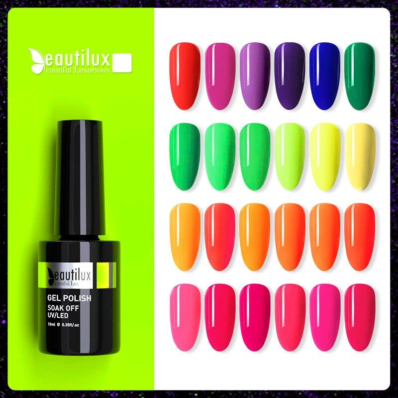 Beautilux неоновый Цветной Гель-лак для ногтей летний Яркий ярко - розовый зеленый желтый гель для дизайна ногтей УФ светодиодный Гель -лак 10 мл