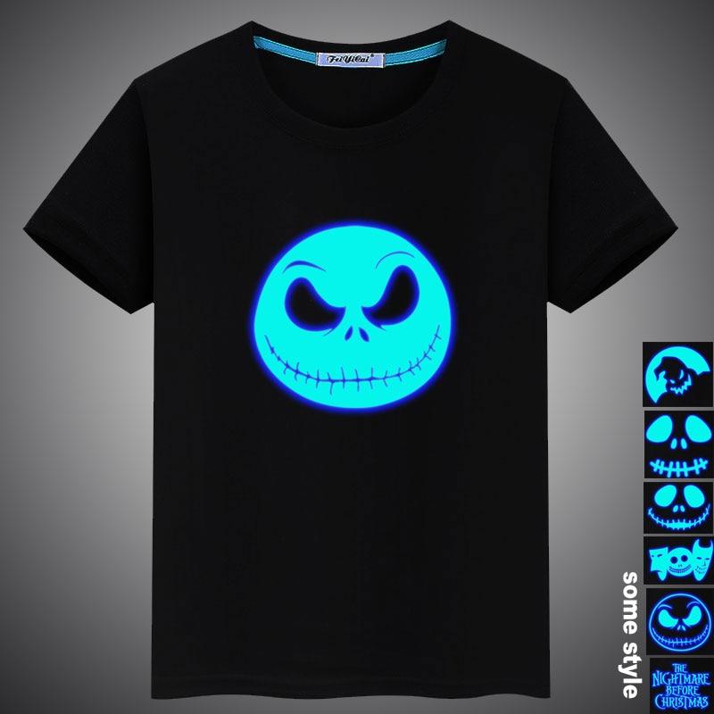 Summer Luminous Nightmare Before Christmas Prints Casual Kids Girls Boys Cotton T Shirt Tops Tees Men Women Family T-shirt