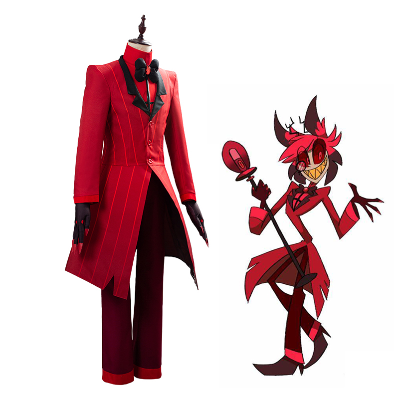 5 PCS/SETS Hotel Cosplay Costume Alastor The Radio Demon Uniform Carnival Christmas Costumes Red Suit Mardi Gras Anime Cosplay