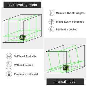 Image 4 - Huepar 12 خطوط ثلاثية الأبعاد مستوى الليزر التسوية الذاتية 360 درجة الأفقي والرأسي عبر قوي في الهواء الطلق يمكن استخدام كاشف شعاع أخضر