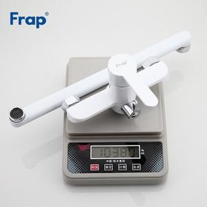 Image 5 - Frap לבן אמבטיה צינור לשקע ברז אמבטיה מקלחת ברז פליז גוף משטח ריסוס ראש מקלחת אמבטיה ברז