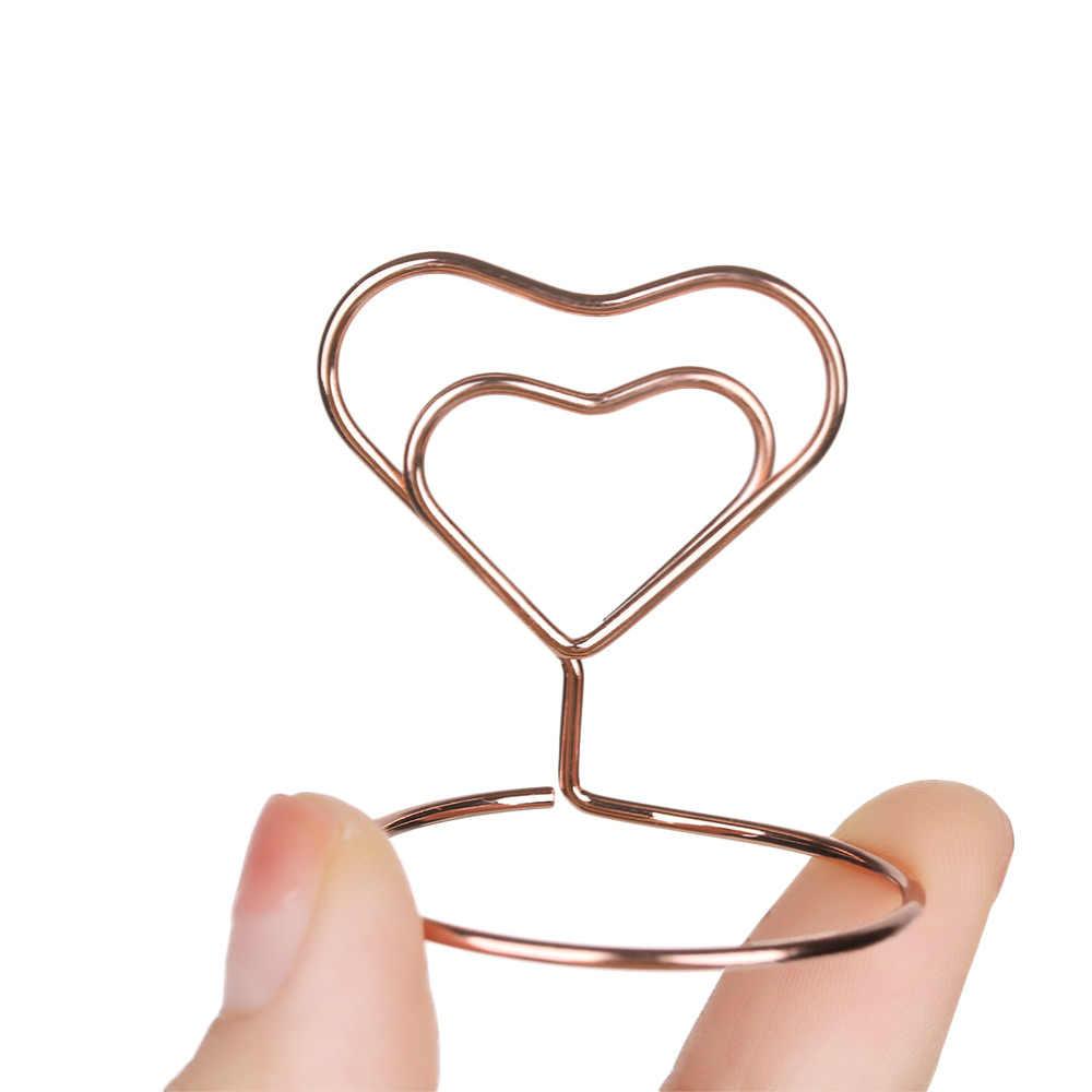 1 pc titular do cartão de metal festa de casamento decoração de mesa romântico coração anel forma photo clip mesa número suporte memorando pinça