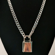цены Choker Lock Necklace Layered On The Neck With Lock Punk Jewelry Key Padlock Pendant Chain For Women Men Sweater Chains Necklaces