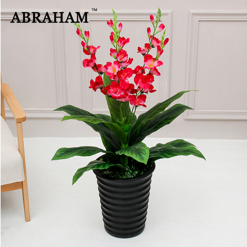 90cm Large Artificial Tropical Musa Tree Real Touch Fake Big Plant Branch Palm Tree With Flower Monstera Leafs Home Decoration