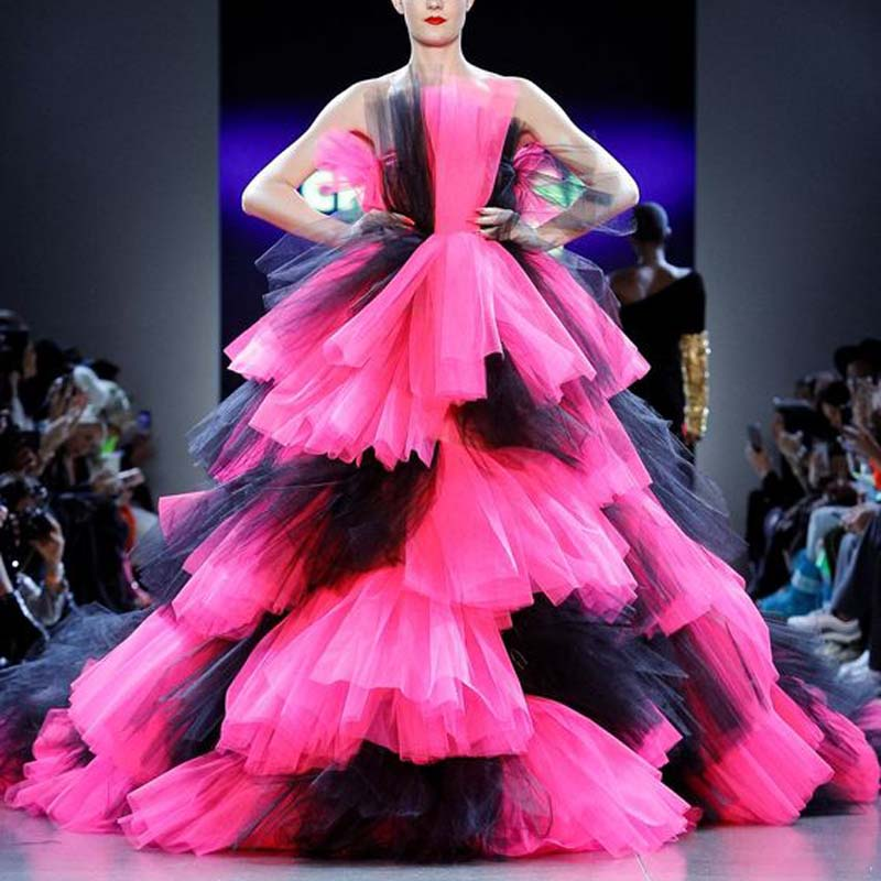 Dramatic Lush Prom Maxi Dress Hot Pink Robe de soiree Strapless Ball Gown Chic Pageant Evening Formal Dress Mixed Color