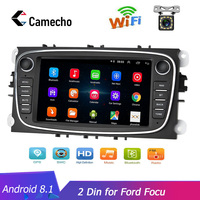 Camecho Android 8.1 2 Din Car Radio Autoradio 7'' HD Touch Car Multimedia Player GPS Navigation WIFI MP5 Bluetooth for Ford Focu