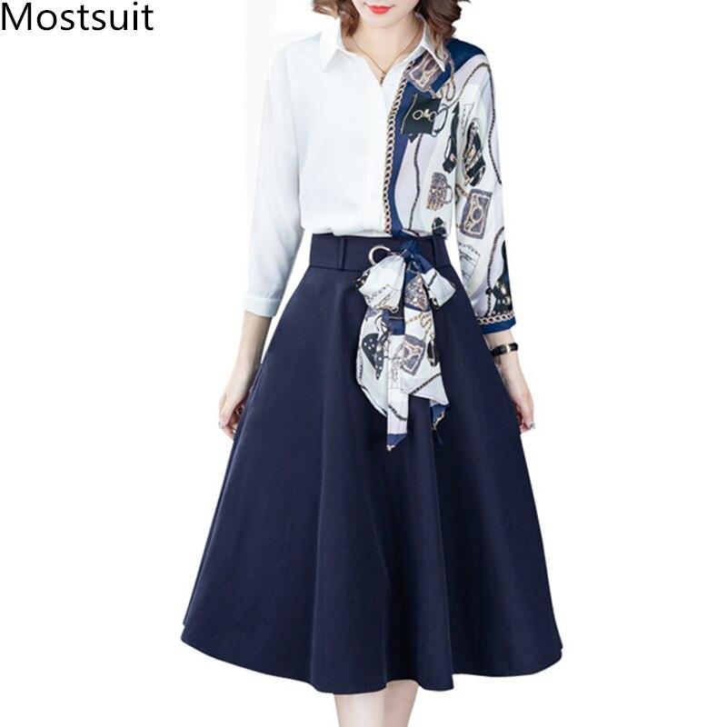 Осень 2020, офисный комплект из двух предметов, наряды для женщин, плюс размер, Лоскутная рубашка с принтом и плиссированные костюмы с длинной юбкой, элегантная мода|Спортивные костюмы|   | АлиЭкспресс
