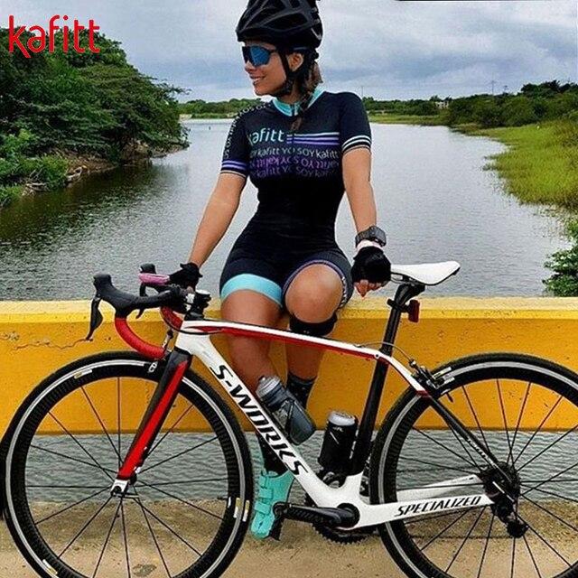 Kafitt das Mulheres Conjuntos de Manga Curta Camisa de Ciclismo Skinsuit Maillot Triathlon Ropa ciclismo Jersey Bicicleta Roupa Ir Macacão Verão 6