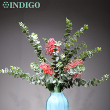 INDIGO - Red Leucospermum Cordifolium (3 flower+3 leaf) Eucalyptus Leaf  Christmas Centerpiece Flower Decoration Free Shipping