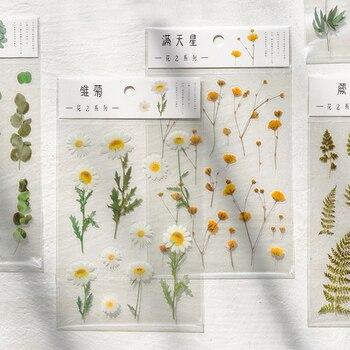Японские наклейки со словами Journamm, наклейки со словами «клевер ромашки» из натурального материала для домашних животных, наклейки с листья...