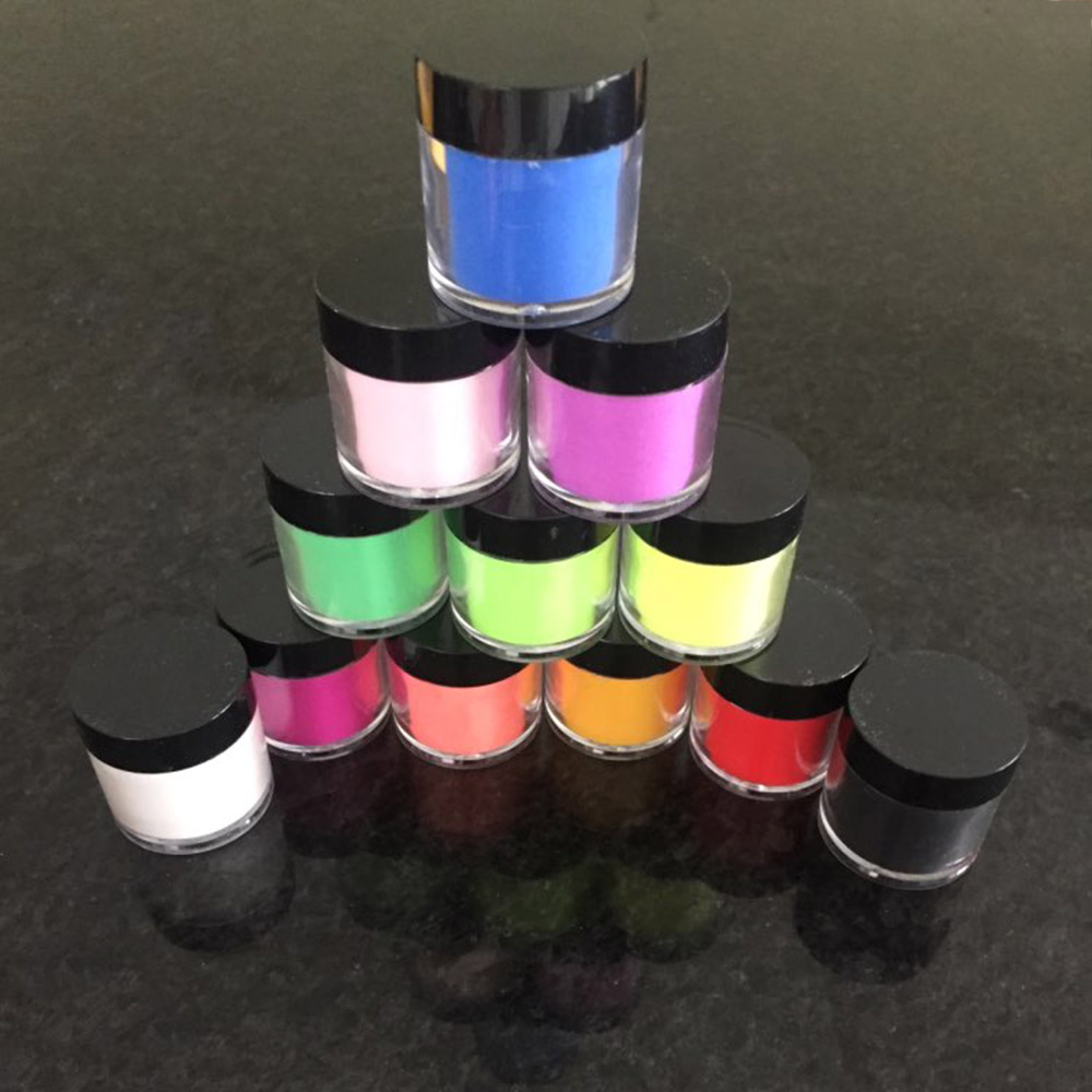 12Bottles/Set Nail Art Acrylic Powder Sculpture Powder 12 Color 8g/Bottle Nail Colorful Clear Dust Decoration Dipping Powder KY3