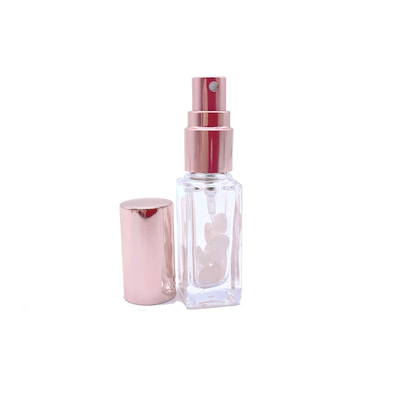 Rose Crystal Perfume Atomizer Pink Quartz Spray Bottle 5 ml 10 ml Pink Vial Refillable Sprayer with Rose Golden Lids 10pcs P273-2