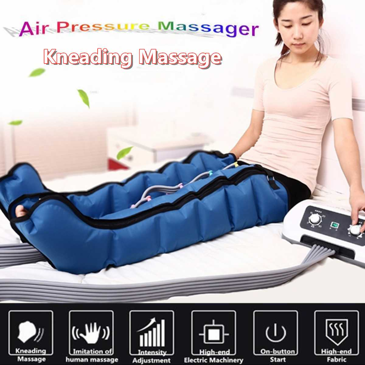 New 6 Air Chambers Leg Compression Massager Vibration Infrared Therapy Arm Waist Pneumatic Air Wraps Relax Pain Relief Massagers