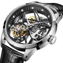 Guanqin esqueleto masculino relógios real tourbillon relógio mecânico real relógio de safira à prova dwaterproof água marca superior luxo relogio masculinoRelógios mecânicos