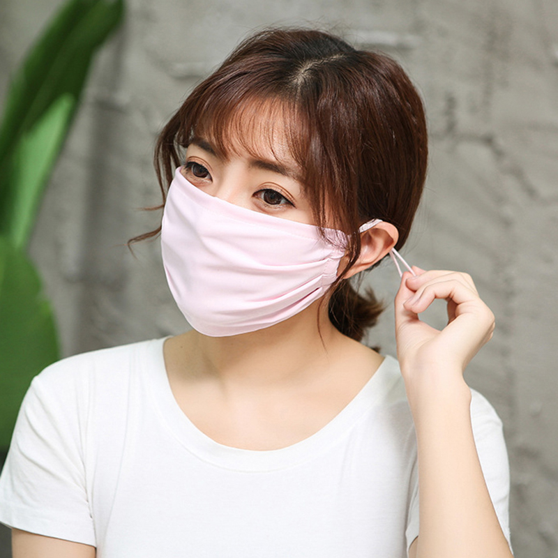 Unisex Sunscreen Ice Silk Mask For Women Men Windproof Anti-Dust Mouth Face Masks Earloop Breathable Double Layer Cotton Masks