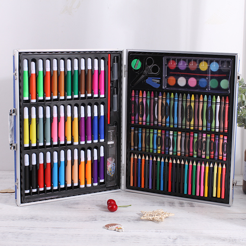 150 Pieces Of Color Pencil Painting Set Box Plastic Box Luxury Stationery Set Student Brush Art Tools