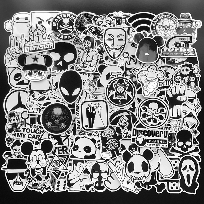 100Pcs Random Black And White Stickers Graffiti Punk JDM Cool Sticker Bomb For Laptop Skateboard Luggage Bike Motorcycle Helmet