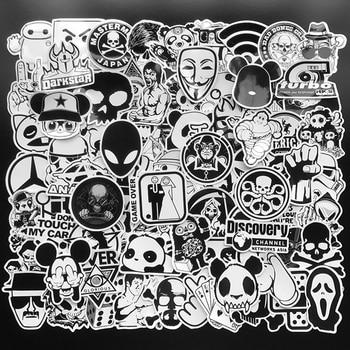 100pcs black and white random stickers graffiti funny sticker for laptop suitcase skateboard moto bicycle car kid s toy stickers 100Pcs Random Black and White Stickers Graffiti Punk JDM Cool Sticker Bomb for Laptop Skateboard Luggage Bike Motorcycle Helmet