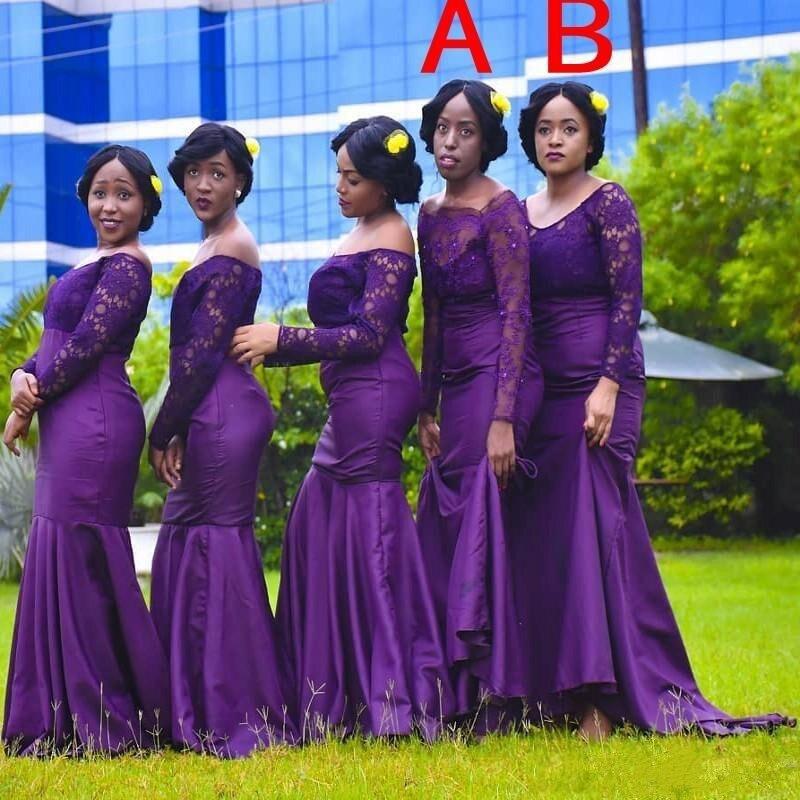 Holievery violet foncé manches longues Satin sirène robe de demoiselle d'honneur avec fermeture à glissière dos 2020 dentelle haut robes de soirée formelles