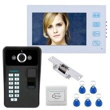 7Inch TFT Fingerprint Recognition RFID Password Video Door P