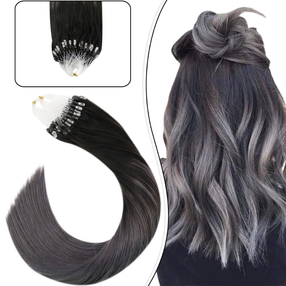 Ugeat Micro boucle Extensions de cheveux cheveux humains couleur argent cheveux Remy brésilien Extensions de cheveux humains naturel doux cheveux 50g/50s ensemble