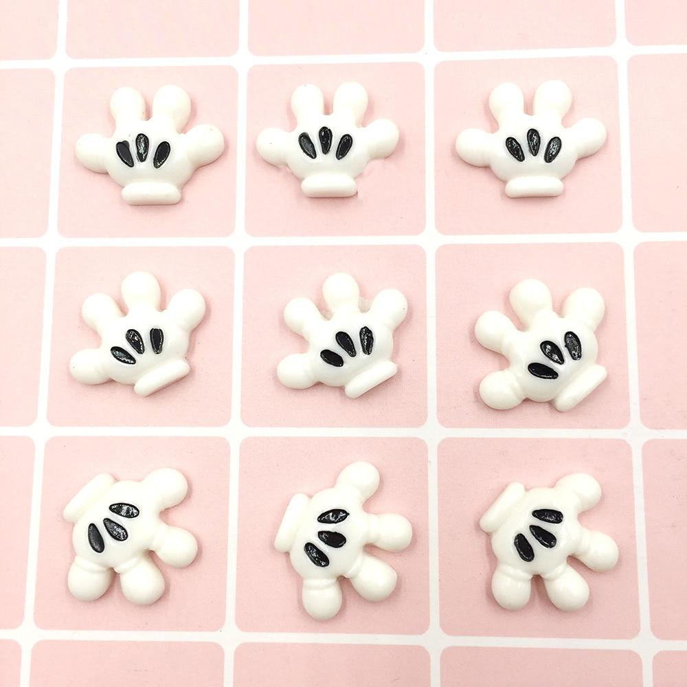 10Pcs Kawaii Cartoon Mouse Hand Flatback Resin Cabochons Scrapbooking Fit Hair Bows DIY Embellishments Crafts Phone Deco
