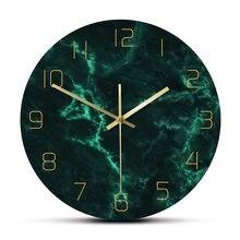 Horloge murale nordique verte à motifs de marbre, décoration artistique minimaliste pour la maison, impression ronde créative