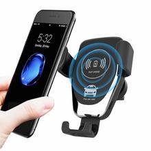10W 7.5W Qi Snelle Opladen Draadloze Oplader Auto Air Vent Mount Phone Houder Zwaartekracht Stand Voor Samsung Galaxy s9 S10 Plus E Note 9