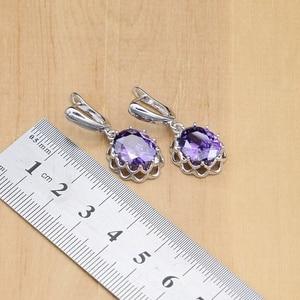 Image 3 - Argent naturel 925 ensembles de bijoux violet zircon cubique pierre bijoux pour femmes boucles doreilles/pendentif/collier/anneaux ouverts/Bracelet
