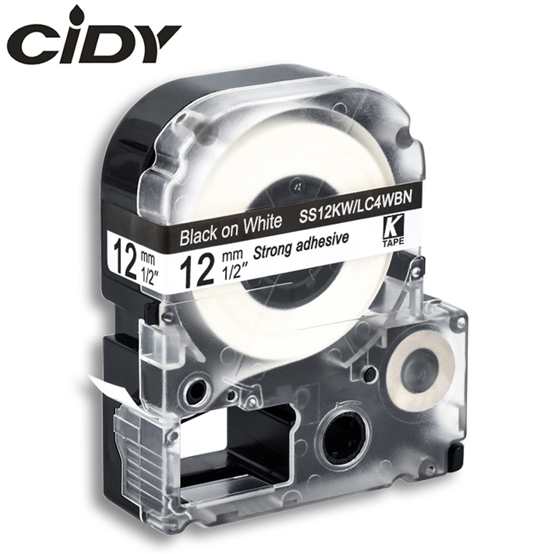 CIDY 12mm Black On White SS12KW / LC-4WBN9 LC-4WBN LC4WBN Compatible Label Tape SC12YW For Kingjim Printer For LW300 LW400