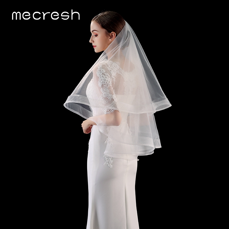Mecresh Korean Double Layers Tulle Bridal Blusher Veils With Comb White Beige Elbow Length Bride Veils For Wedding Dress VTS015