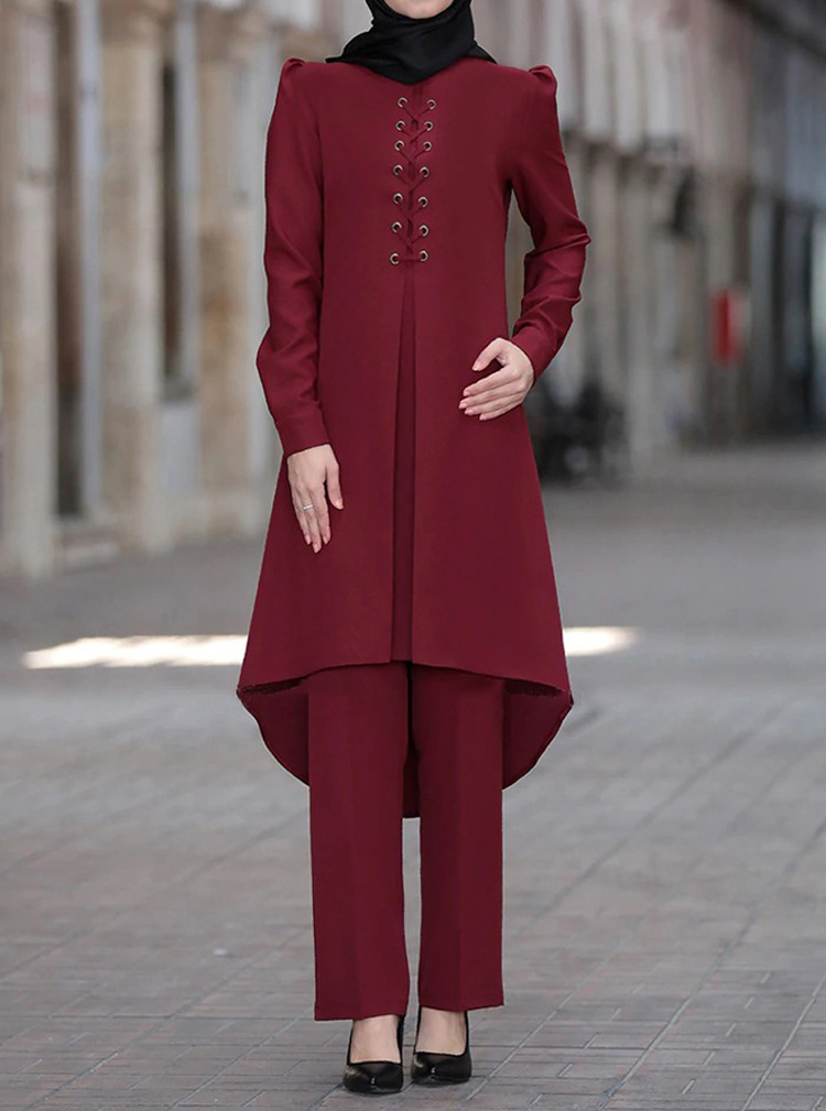 outfit women party clothing top pants two pieces set plus size solid abaya ramadan EID kaftan robe moroccan dubai islamic Judaic Women Women's Abaya Women's Clothings cb5feb1b7314637725a2e7: Brick red|Dark green|Wine red|Purple