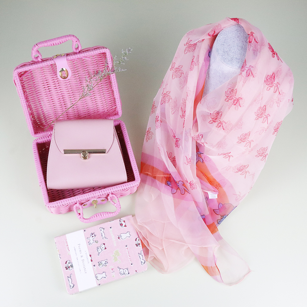 Big 190*120CM Scarf Unique Set Silk Scarf  Girls's Gift Set With  Bag & Notebook&Woven Box 4 Pcs Set