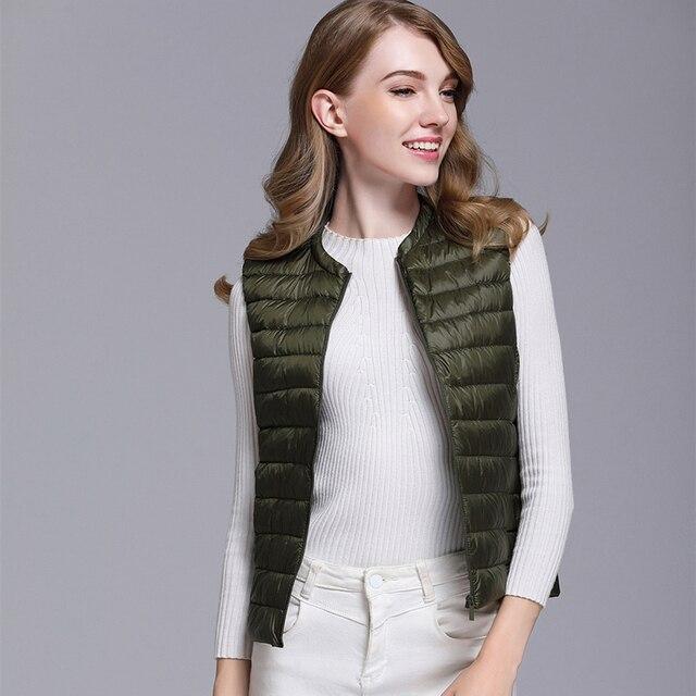 Fitaylor New Women 90% White Duck Down Vest Women Ultra Light Duck Down Vest Jacket Autumn Winter Round Collar Sleeveless Coat 4